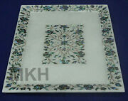 Marble Inlay Cheese Platter Handmade Decorative Art Piece Serving Tray Vintage