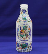 Champagne Bottle Marble Floral Vase Inlay Stylish Unique Home Collectible Decor