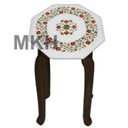 Coffee Table Top Marble Inlay Gem Stones Vintage Side Tables Collectible Mosaic