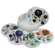 4 Inch Drink Coasters Marble Stone For Coffee Table Furniture Handmade Art Piece