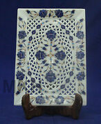 Cheese Platter Hand Carved White Marble Home Decorative Collectibles Pietra Dura