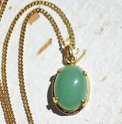 Vintage Chinese 1/20 12k Gold Filled Green Jade/jadite Oval Pendant W/ Gf Chain