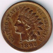 1892 Indian Head Cent Ms 2x2 Unc Penny Compare To Slabbed Coins