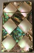 Antique Victorian Mother Of Pearl And Abalone Business/calling/visiting Card Case