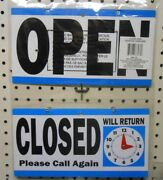 Two Open/closed Signs With Will Return Clock Business Retail Sign Blue