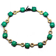 Natural Green Chrysoprase And Sapphire 925 Sterling Silver Necklace Black Gold