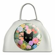 Black Cat Hiding In Spring Flowers White Metal Cowbell Cow Bell Instrument