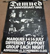 The Damned Rare '1st Anniversary' Concerts Poster July 1977 Marquee Club London