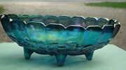 Vintage Iridescent Blue Indiana Carnival Glass Footed Oval Fruit Bowl Dish 12