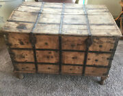 Outstanding Antique Unique Hinged Large Trunk Chest Blacksmithed Straps Strapped