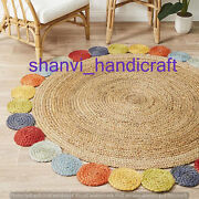 Round Braided Natural And Multi Colour Jute Mat Rugs Floor Shabby Chic Indian Mat