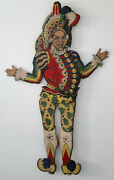 Rare Antique Pull Toy Huge Jumping Jack Harlequin Italian Almost Life Size 61