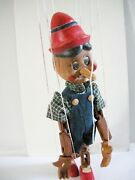 Vintage Wood Pinocchio Marionette Puppet, 19 Tall, Hand Carved Israel
