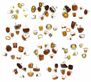 Vintage Sterling Silver Jewelry Handcrafted Baltic Amber Rings Wholesale Lot