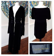 1990s Does 1970s Vintage Daizie Brown Silk Velvet Tunic And Overcoat/open Front