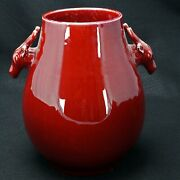 Chinese Porcelain Oxblood Deer Vase With Tongzhi Reign Mark 20th C