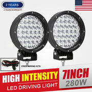 Pair 7inch 280w Cree Driving Lights Spotlight Led Round Lamp Offroad Auto 12v24v