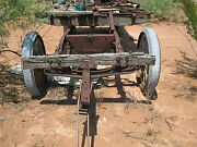Antique Wooden Trailer W/ Rubber Tires On Wood Wheels