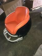 New Football Helmet Chair Dark Blue Body And Facemask Orange Seat Great 4 Man Cave