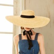 Wide Brim Summer Hats Wheat Straw For Womenand039s Boater With Ribbon Caps Adjustable