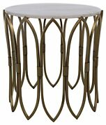 22 Set Of 2 Evette Side Table Smooth Stone Top Antique Brass Metal Base