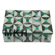 Jewelry Box Marble Inlay Gem Stones Trinket Boxes Jewellery Gifts Vintage Design