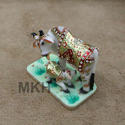 Cow Figurine Rare New Indian Vintage And Calf Farm Painted Gold Carved Marble