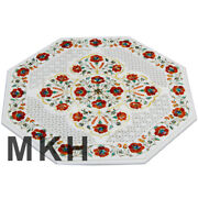 Marble Coffee Table White Inlay Gem Stones Vintage Side Table Top Marquetry Ct55