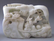 7.7 Old Chinese White Jade Carved Fisherman Pine Tree Statue