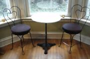 Vintage Ice Cream Parlor Soda Fountain Marble Table And Wrought Iron Chairs.