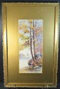 Augusto Acores 1863 Watercolor On Paper Landscape Signed