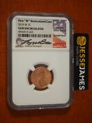 2019 W Lincoln Cent Ngc Gem Uncirculated Lyndall Bass Signed 1c Penny