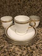 18 Pieces Limoges France 9 Coffee Cup And 9 Saucers Gold Trim 24 K