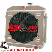 4 Row Radiator+shroud Fan+thermostat For 55-57 Chevy Bel-air Del Ray Nomad V8