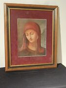 Vintage M I Hummel Print Virgin Mary For Collector Club Members Only With Frame