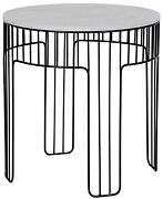 25 T Set Of 2 Side Table Round Solid Quartz Top Open Cage Style Metal Base