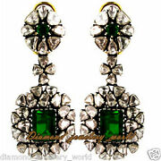 3.95cts Antique Cut Diamond Emerald Studded Silver Vintage Style Earring Jewelry