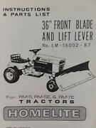 Homelite T-7 Rm-5 Lawn Tractor 36 42 Front Blade Implement Owner And Parts Manual