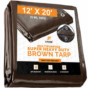 12and039 X 20and039 Super Heavy Duty 16 Mil Brown Poly Tarp Cover - Thick Waterproof