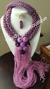 Purple/lilac 2 Row Choker Beaded Necklace With Long Droppings. Exclusive Design