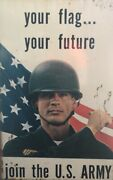 Vintage Army Recruiting Metal Sign Your Glad Your Future Double Sided Vietnam 67
