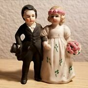 Adorable German Hertwig And Co Bisque Bride And Groom Wedding Cake Topper / 1910