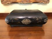 Antique Black Lacquered Jewelry Box Hand Painted Flower Motif English Victorian