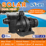 1.6hp Dc Solar Swimming In/above Ground Spa Pool Pump Motor Strainer 118gpm 110v