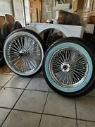 21 X 3.5 Dual Dd And16 X 3.5 Cp Fat Spoke Set Ww Tires 4 Harley Touring Hd 00-03