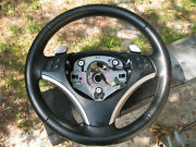 2009 Bmw 128i E82 Leather Multifunction Steering Wheel With Paddles And Bag