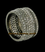 Antique Finish 4.05ct Genuine Pave Rose Cut Diamond Silver Eternity Ring Jewelry