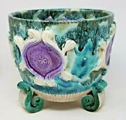 Mcm Pottery Footed Flower Pot Planter Italy Green Purple Blue Drip Glaze Raymor