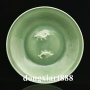 30.6 Cm Chinese Royal Green Glaze Porcelain Double Fish Plates Tray Dish Salver