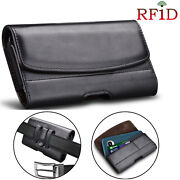 Universal Pu Leather Belt Clip Pouch Rfid Blocking Wallet Carrying Case Cover